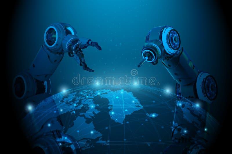 Mano del robot con la conexión del mundo