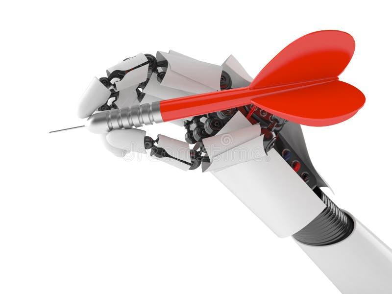 Mano del robot con la flecha del dardo stock de ilustración