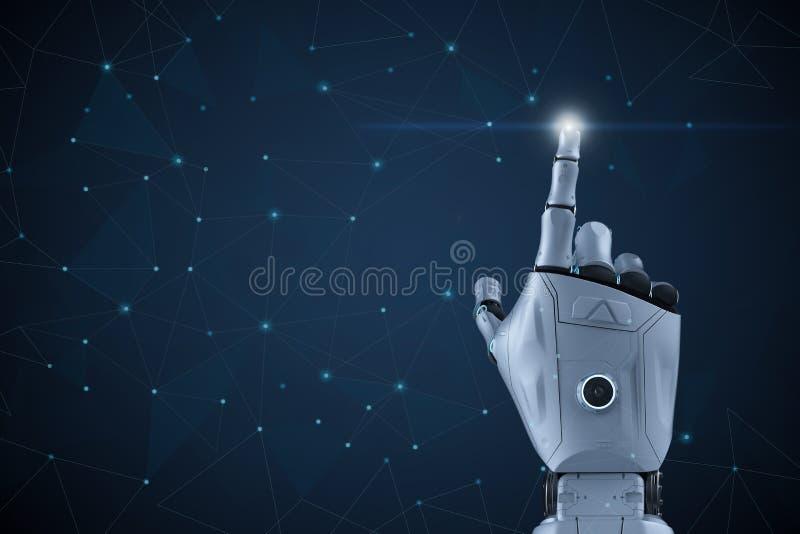 Mano del robot con la representaci?n gr?fica stock de ilustración