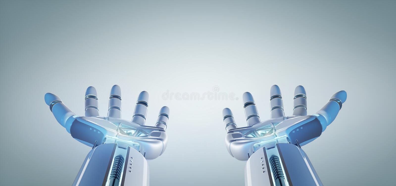 Mano del robot del Cyborg en una representación uniforme del fondo 3d stock de ilustración