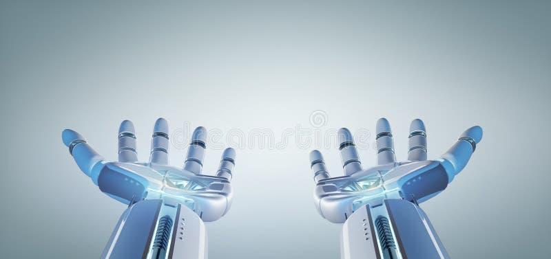 Mano del robot del cyborg su una rappresentazione uniforme del fondo 3d illustrazione di stock