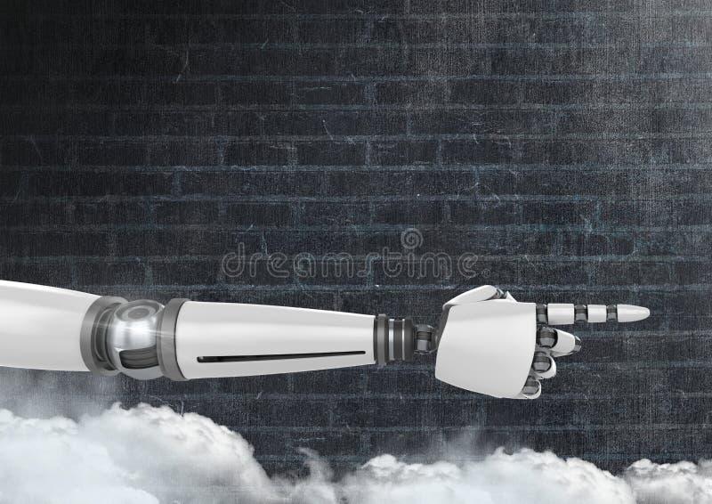 Mano del robot di Android che indica con il fondo di buio del muro di mattoni illustrazione vettoriale