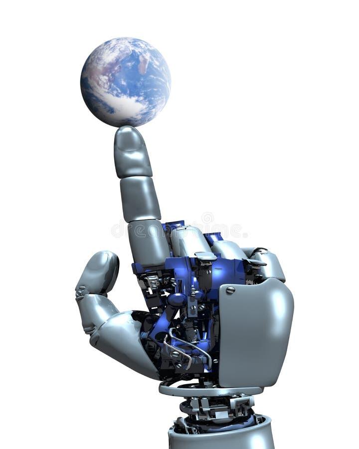 Mano del robot e globo della terra