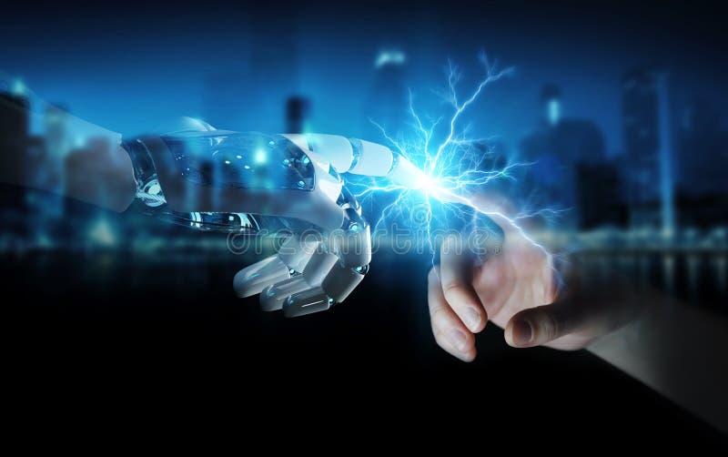 Mano del robot que crea electricidad con la representación humana de la mano 3D libre illustration