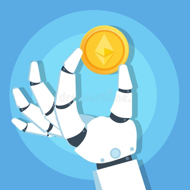 Mano del robot que lleva a cabo el icono de la moneda de oro de Ethereum Cryptocurrency Concepto de la tecnología de Blockchain libre illustration