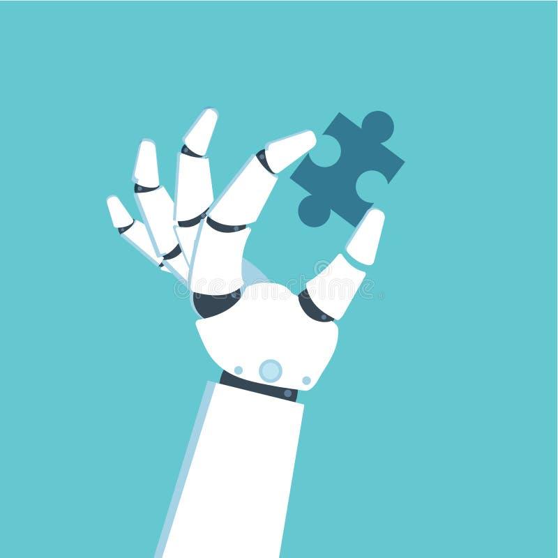 Mano del robot que lleva a cabo rompecabezas Concepto del problema y de la solución Ilustración del vector libre illustration