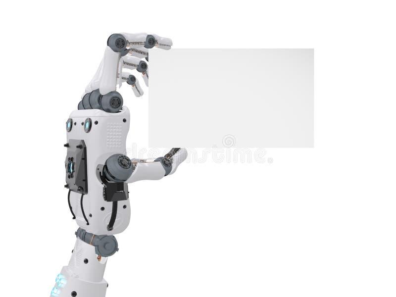 Mano del robot que sostiene la tarjeta de visita en blanco ilustración del vector
