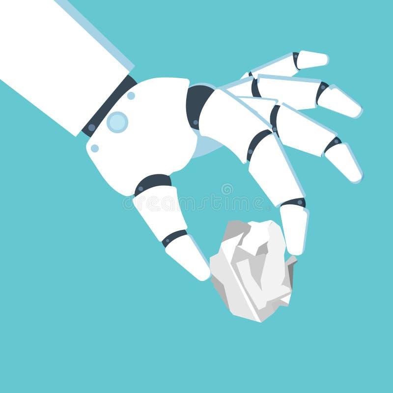 Mano del robot que sostiene una hoja de papel arrugada Ilustración del vector libre illustration