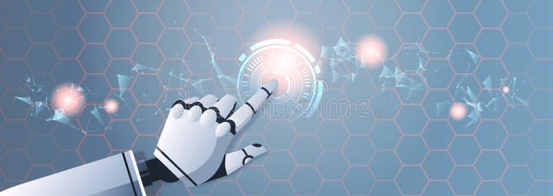 Mano del robot que toca tecnolog?a futurista digital virtual abstracta de la inteligencia artificial de la pantalla t?ctil de la  libre illustration