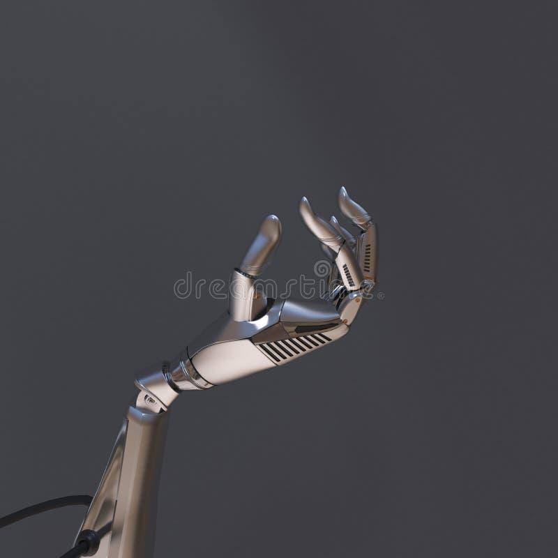 Mano del robot sui precedenti neri Tecnologia del robot per il futuro illustrazione vettoriale
