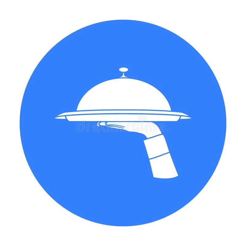 Mano del ` s del camarero que sostiene una bandeja con el icono de la campana de cristal en estilo negro aislado en el fondo blan ilustración del vector