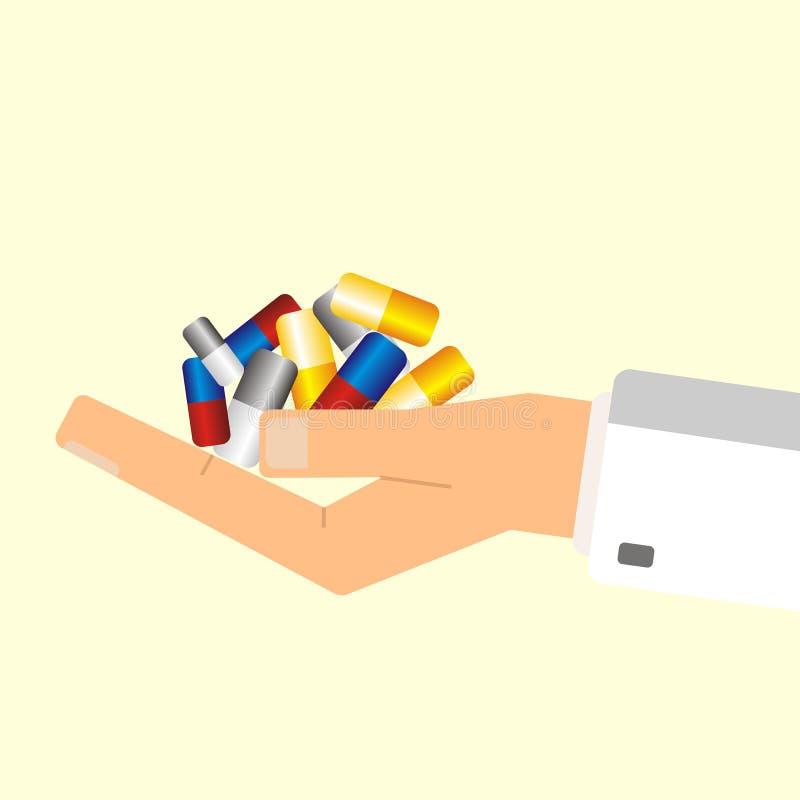 Mano del ` s del doctor que sostiene píldoras Concepto del cuidado médico Illustr del vector stock de ilustración