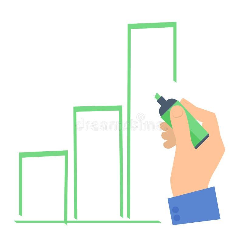 Mano del ` s dell'uomo d'affari con un disegno a penna un grafico di aumento illustrazione vettoriale