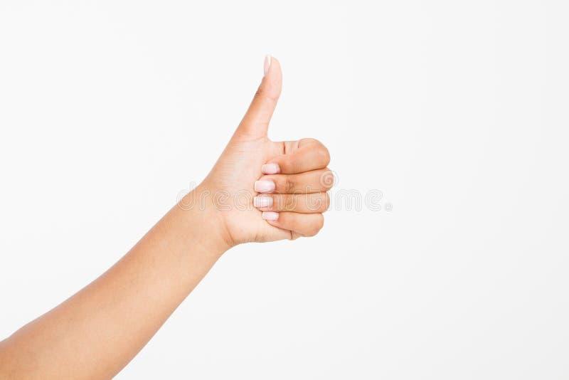 Mano del ` s della donna che mostra uno o come il conteggio isolato su fondo bianco mano afroamericana Derisione su Copi lo spazi immagini stock