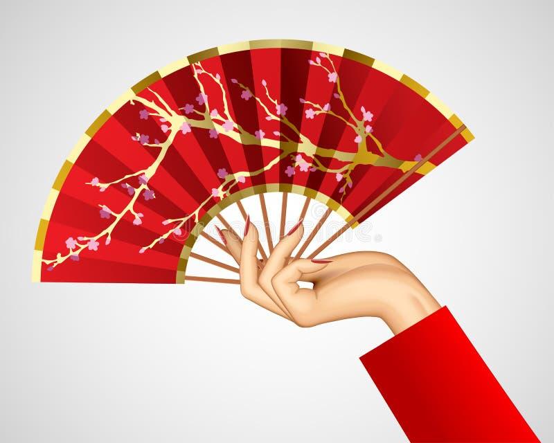 Mano del ` s della donna con il fan rosso cinese aperto isolato su bianco illustrazione vettoriale
