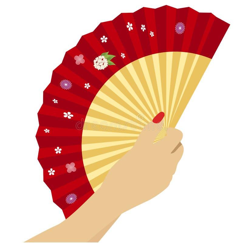 Mano del ` s della donna con il fan rosso cinese aperto su fondo bianco illustrazione vettoriale