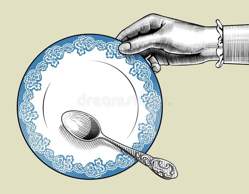 Mano del ` s della donna con il piatto ed il cucchiaio illustrazione di stock