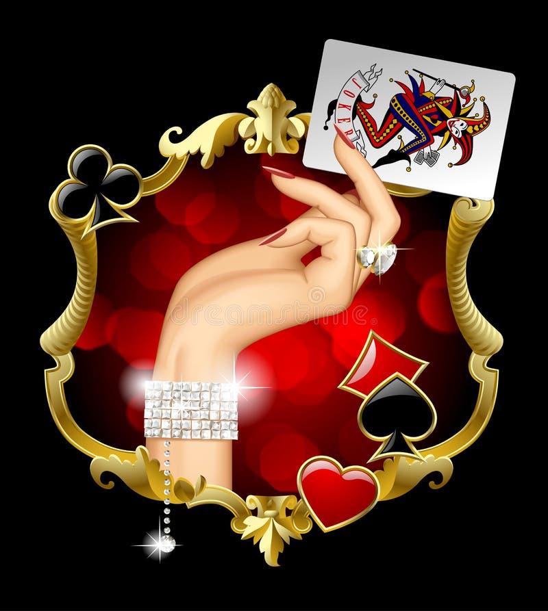 Mano del ` s della donna con la carta da gioco del burlone della tenuta dei gioielli nell'oro royalty illustrazione gratis