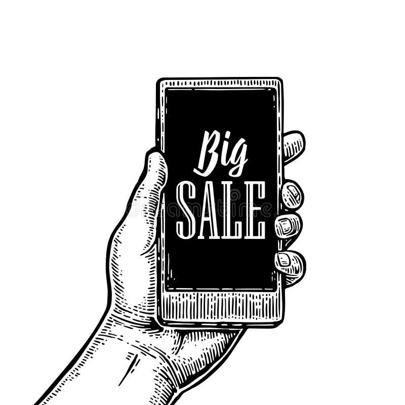Mano del varón del control de Smartphone VENTA GRANDE del texto indicado con letras libre illustration