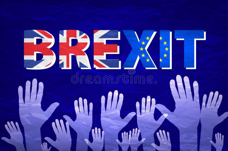 Mano del vector del texto de Brexit bandera de la Comunidad Europea del Reino Unido stock de ilustración