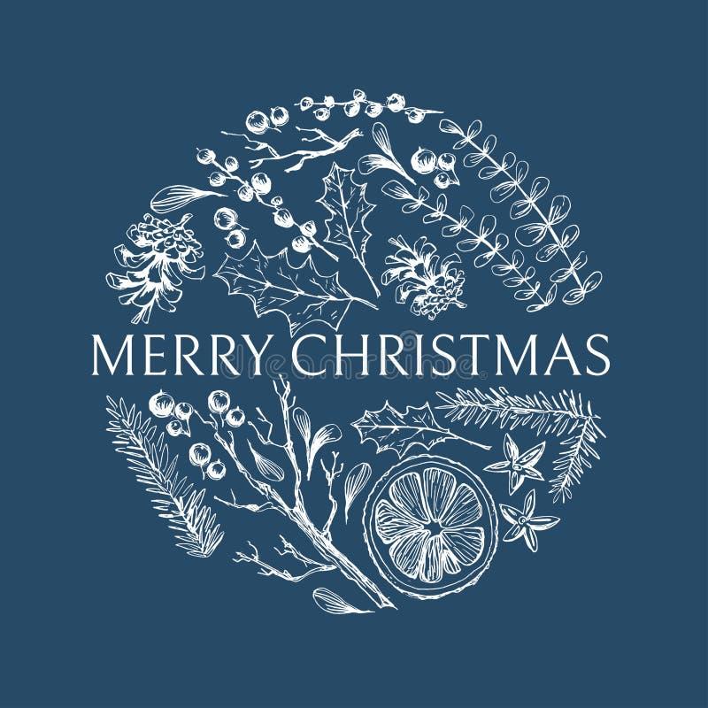 Mano del vector dibujada alrededor del ejemplo con los elementos herbarios naturales de la Navidad Ramas del mu?rdago, de la frut libre illustration