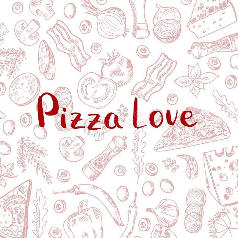 Mano del vector dibujada cocinando el fondo de los elementos de la pizza ilustración del vector