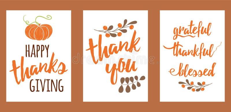 Mano del vector dibujada poniendo letras al texto determinado de la acción de gracias de los elementos de la impresión feliz del  libre illustration