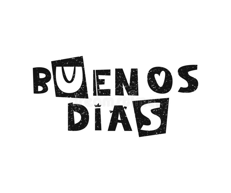 Mano del vector dibujada poniendo letras a los dias de Buenos Cartel lindo de los niños stock de ilustración