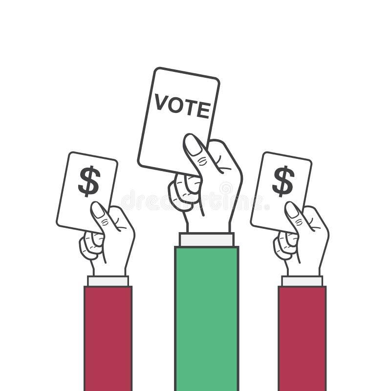 Mano del vector que lleva a cabo la etiqueta del voto ilustración del vector