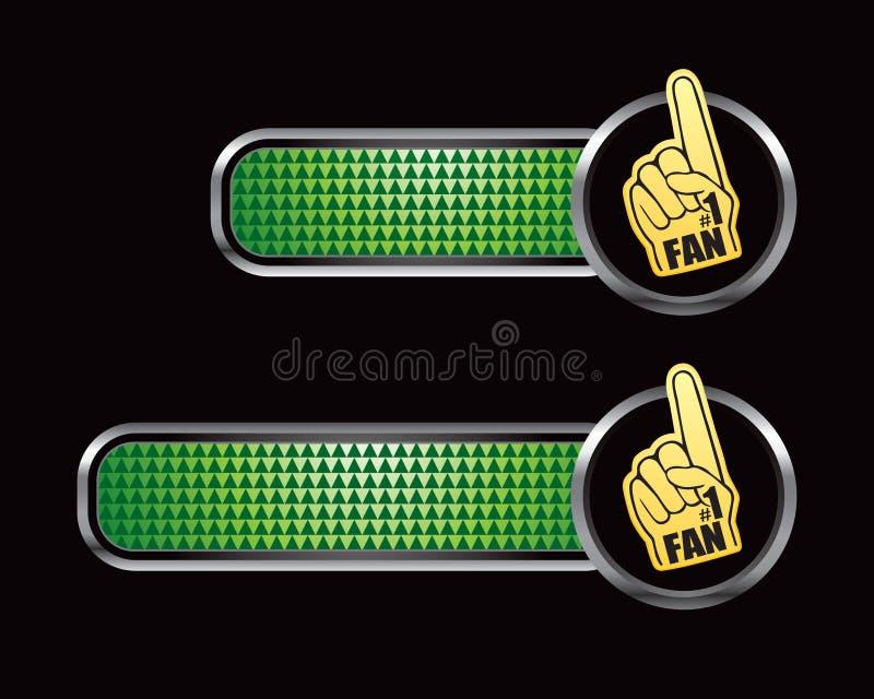 Mano del ventilador de deportes en tabulaciones checkered verdes ilustración del vector