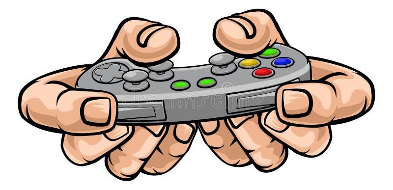 Mano del videojugador que sostiene el regulador video del juego del juego stock de ilustración