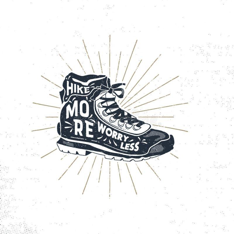 Mano del vintage dibujada caminando botas Diseño de la camiseta del calzado Gráficos temáticos de la camiseta de la pasión por lo stock de ilustración