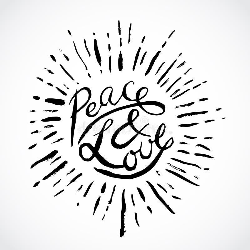 Mano del vintage dibujada poniendo letras a paz y a amor Ilustración retra del vector stock de ilustración
