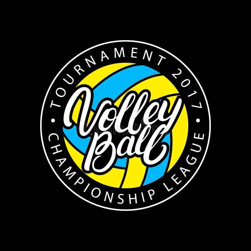 Mano del voleibol escrita poniendo letras al logotipo, a la etiqueta, a la insignia o al emblema stock de ilustración