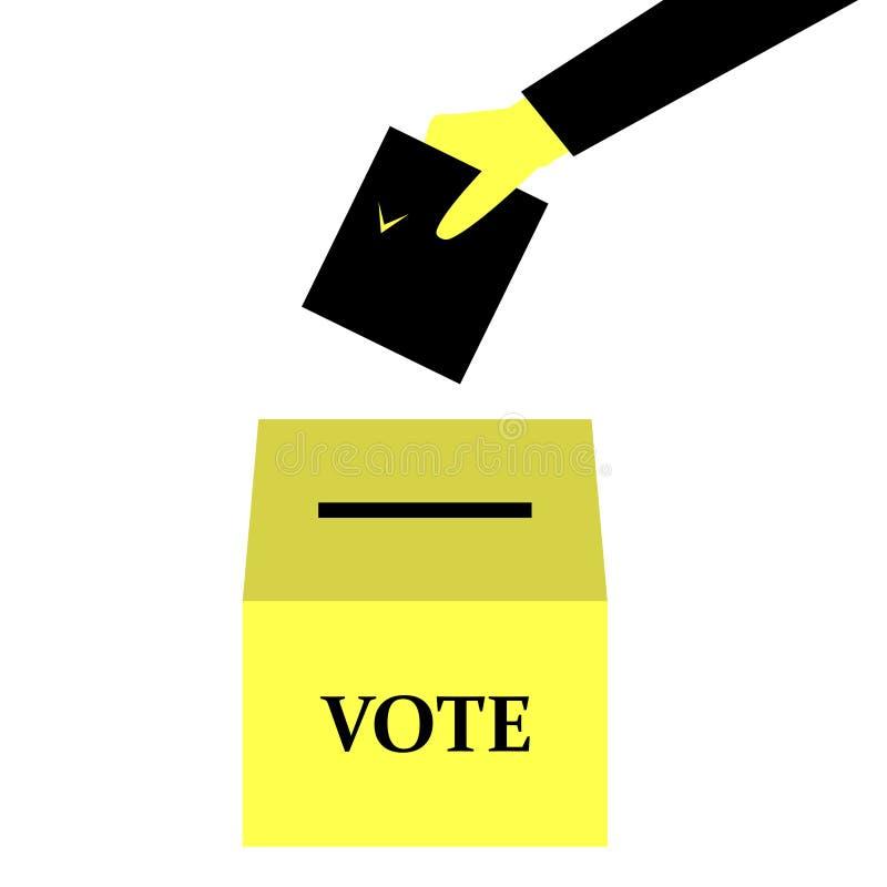 Mano del voto que lleva a cabo el boletín stock de ilustración