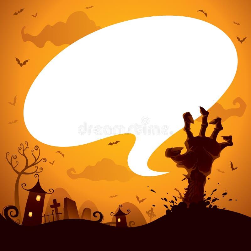 Mano del zombi de Halloween con la burbuja del discurso stock de ilustración