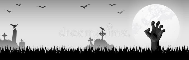 mano del zombi de Halloween delante de la Luna Llena stock de ilustración