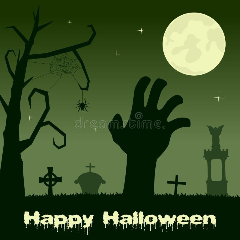 Mano del zombi de Halloween en una necrópolis stock de ilustración
