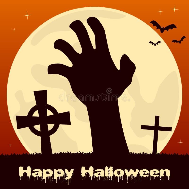 Mano del zombi de Halloween y Luna Llena stock de ilustración
