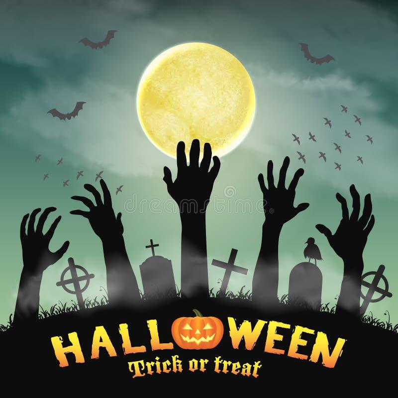 Mano del zombi de la silueta de Halloween en cementerio de la noche ilustración del vector