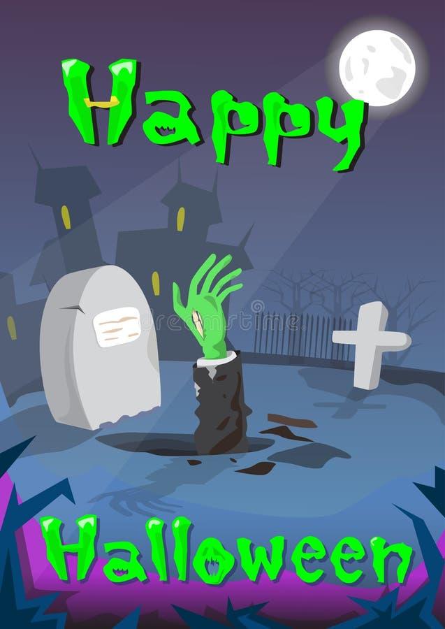 Mano del zombi del cementerio del cementerio de la bandera de Halloween de la tarjeta de tierra de la invitación del partido ilustración del vector