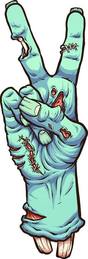 Mano del zombi que hace el signo de la paz ilustración del vector