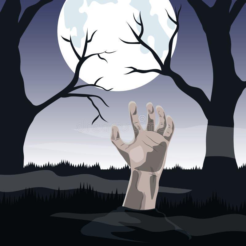 Mano del zombi que se pega fuera de la tierra en la Luna Llena ilustración del vector