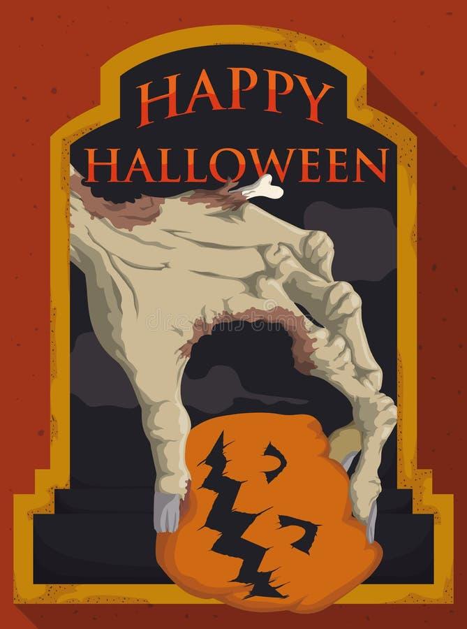 Mano del zombi que sostiene una calabaza en una noche de Halloween, ejemplo del vector libre illustration