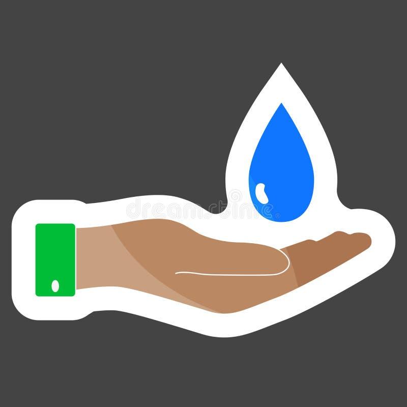 Mano dell'icona di vettore che tiene una goccia Progettazione piana della mano e una goccia di royalty illustrazione gratis