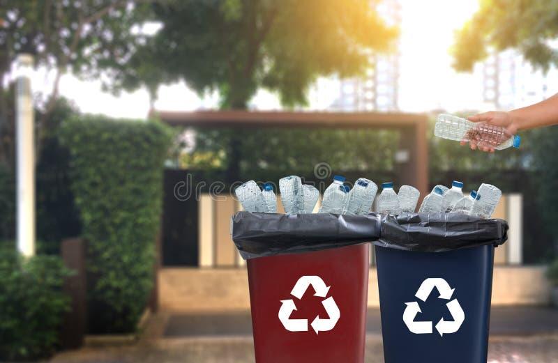 mano dell'uomo che mette riutilizzazione di plastica per il riciclaggio dei environmen di concetto fotografia stock libera da diritti