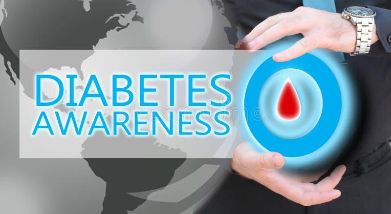Mano dell'uomo che tiene cerchio blu con goccia del sangue, concetto di awarees del diabete fotografia stock libera da diritti