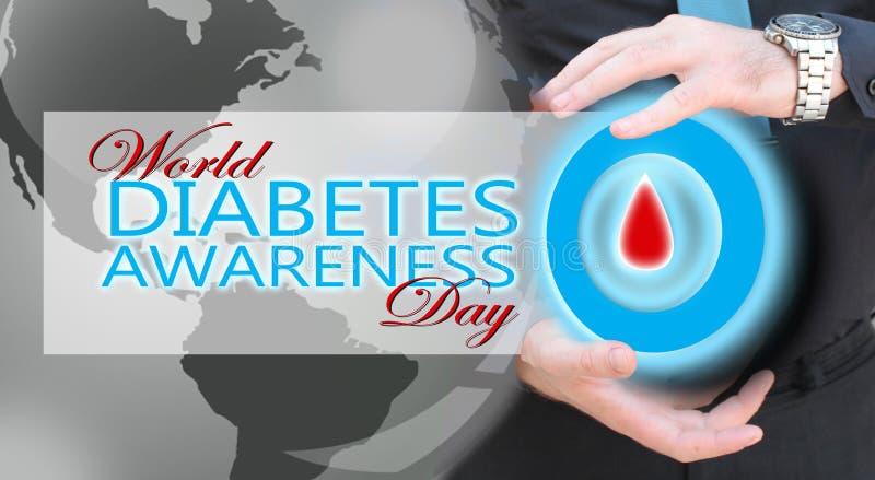 Mano dell'uomo che tiene cerchio blu con goccia del sangue, concetto di awarees del diabete fotografia stock