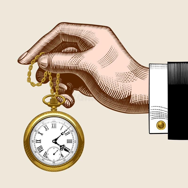 Mano dell'uomo con un retro orologio da tasca dell'oro illustrazione di stock