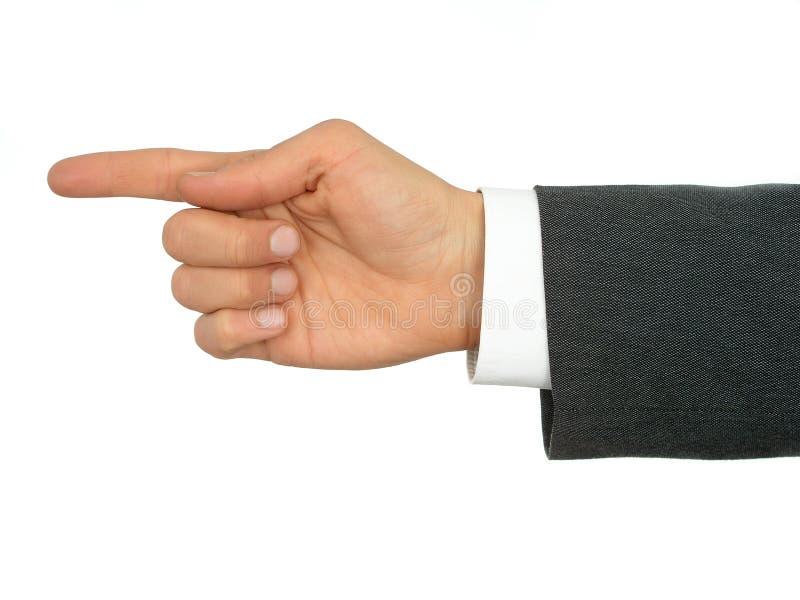 Mano dell'uomo d'affari che indica barretta fotografie stock